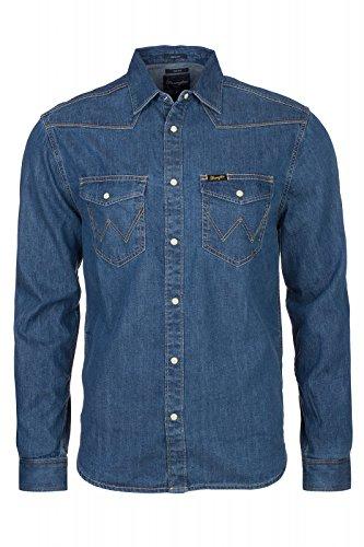 Wrangler Herren, Regular Fit, Freizeithemd, Classic Western, GR. Large (Herstellergröße: Large), Blau (mid Indigo)