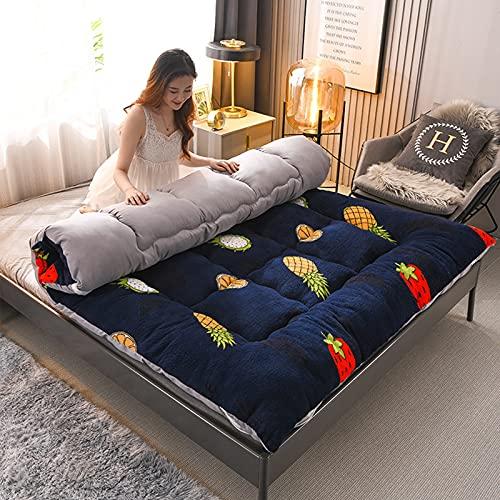 Colchón de lana de cordero, tapete de futón de tatami de dibujos animados, colchón de futón cálido, almohadilla de dormir acolchada para acampar, para niños, niñas, dormitorio para niños,D,Queen