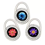 QIELIZI Purse Hook Set of 3 - Foldable Handbag Hanger Folding Table Hanger Holder Womens Girls Bag Storage(One Flower)