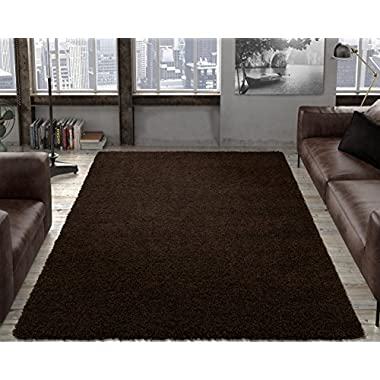 Ottomanson Soft Cozy Color Solid Shag Area Rug Contemporary Living and Bedroom Soft Shag Area Rug, Brown, 5'3  L x 7'0  W