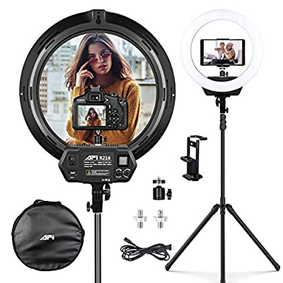 AFI 16'' Ring Light with Stand,3200-6500K LED Ring Light for Video Shooting, Photography, Makeup.Professional Light for Cameras,Webcams and Cellphones.Compatible with iPhone?Android?DSLR Cameras
