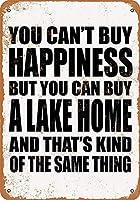 家の装飾-あなたは幸福を買うことはできませんが、あなたは湖を買うことができます。コーヒーショップバークラブのためのインチヴィンテージメタルティンサインプレート壁の装飾プラーク