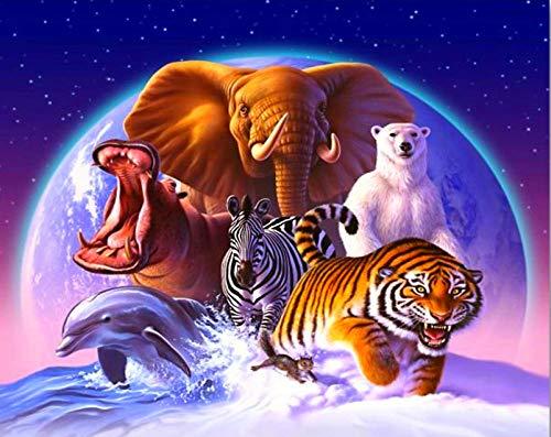 5D Diy Diamante Pintura Cuadrado Completo/Redondo Punto De Cruz Paisaje Animal Delfín Tigre Oso Polar Cebra Elefante Decoración Del Hogar 30X40 / 40X50Cm