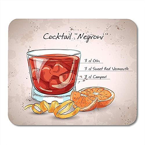 Mauspad Negroni Alcoholic Cocktail Bestehend Aus Gin Campari Red Vermouth Notebooks Desktop-Computer Mauspads Bürobedarf Mauspad 25X30Cm