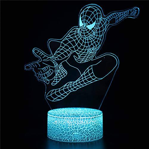 Nachtlicht für Kinder, 3D Illusions Lampe Spider-Man AA Nachtlicht Dimmbar Steckdose für Jungen Weihnachtsgeschenke Weihnachtsgeburtstagsgeschenk, Spielfan