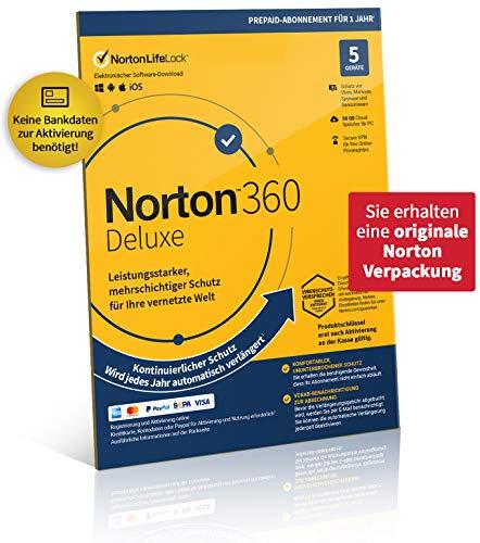 Norton 360 Deluxe 2021 | 5 Geräte | 1-Jahres-Abonnement mit Automatischer Verlängerung | Secure VPN und Passwort-Manager | PC/Mac/Android/iOS | Aktivierungscode in Originalverpackung
