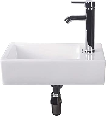 Walcut Bathroom Wall Mount Rectangle Corner Sink White Porcelain Ceramic Vessel Sink & Chrome Faucet Combo Lavamanos Bathroom