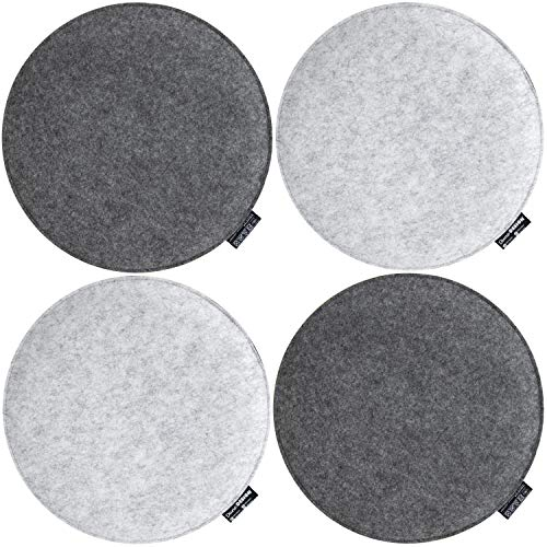 DuneDesign 4 vilten zitkussen rond - Ø 35x3cm stoelkussen stoelpad zacht 2-kleurig grijs