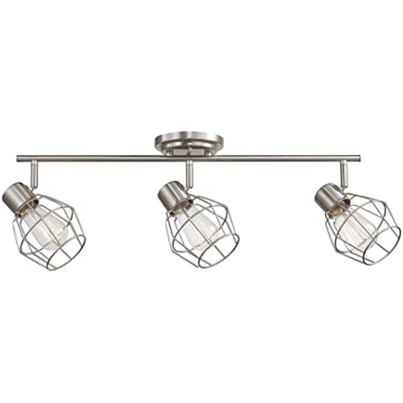 Globe Electric Jax 3 Track Lighting, Brushed Nickel, Vintage Edison Bulbs Included 59701