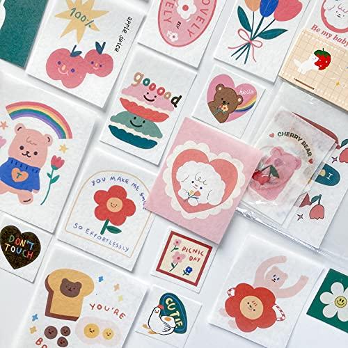 TNYKER シール フレークシール 手帳ステッカー 手描き イラスト 韓国風 スケジュール 手帳 ノート 手紙 カレンダー シンプル おしゃれ かわいい 40枚セット SWEET