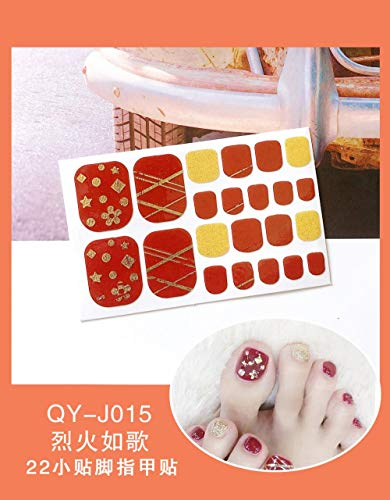 BGPOM Foot Stickers Nail Stickers Nail Stickers Fully Waterproof Lasting 3D Toenail Stickers Patch 10 Sheets/Set,Blazing Fire (QY-J015)