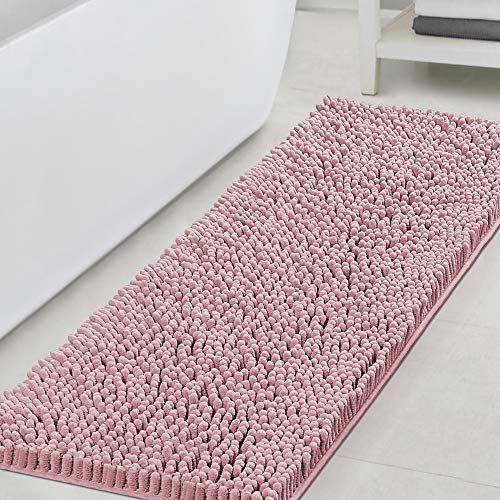 Bathroom Rugs Bath Mats for Bathroom Non Slip Luxury Chenille Bathroom Runner Rug 47x17 Extra Soft and Absorbent Shaggy Rugs Washable Dry Fast Plush Area Carpet Mats for Bath Room, Tub - Coral Pink