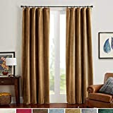 Velvet Curtains Room Darkening Blackout Curtains Thermal Insulated Super Soft Luxury Drapes for Bedroom Rod Pocket Window Curtain for Living Room 2 Panels 52 by 95 Inch Gold Brown