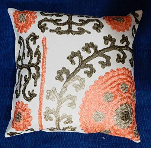 iinfinize - Funda de cojín vintage bordada de 40,6 cm, cuadrada, cojín decorativo para el suelo, almohada uzbeka Suzani, cojín con pompón, hippie, boho, tradicional, almohada para cama, decoración del hogar