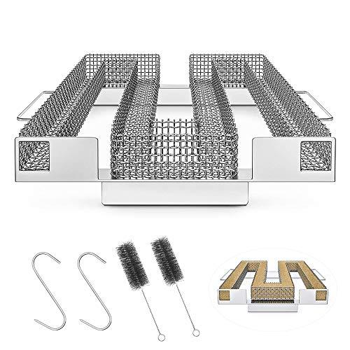 O-Kinee Kaltrauchgenerator, Cold Smoke Generator, Kaltrauch Kaltraucherzeuger aus Edelstahl zum Kalträuchern, Food Smoker, mit Bürste + Haken, für Kugelgrill Grill Räucherofen (A)