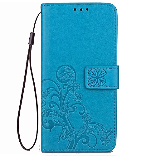 Guran PU Leather Case for Lenovo Moto G4 Play (5.0 inch) Smartphone Flip Cover with Wallet and Stand Functions Lucky Clover Pattern Design Embossed Phone Case - Blue