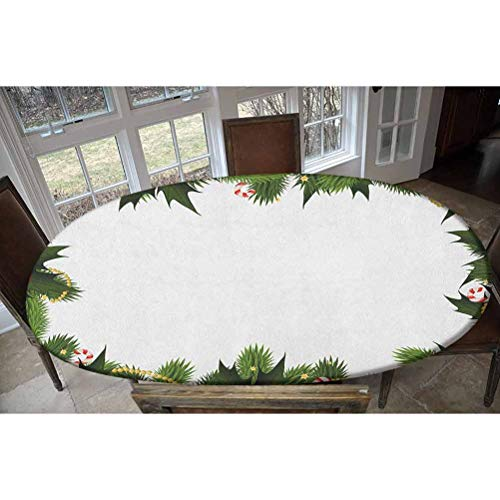 Elastic Polyester Fitted Table Cover,Frame Style Garland Pattern Mistletoes Candy Canes and Chain on Fir Tree Motif Decorative Oblong/Oval Dinner Fitted Table Cloth,Fits Tables up to 48' W x 68' L