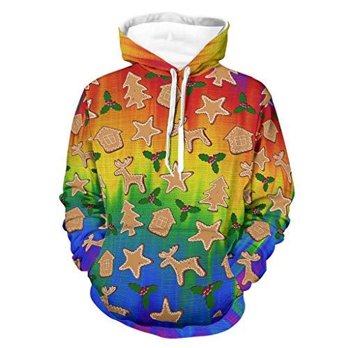 Jungen Mädchen Kapuzenpullover Sweater Weihnachten Sterne Keks Gradient Digital Bedruckte Pullover Lustig Hoodie Kapuzenpulli White m