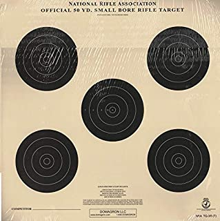 DOMAGRON Smallbore Rifle Target - 5 Bullseye - Officiial NRA Target TQ-3/5 on Tag (100 Pack)