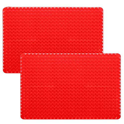 1 Pack Red Mat + 3 Pcs Red Brush Silicone Pyramid Baking Mat Oven Non-Stick Pastry with 3 Pcs Red Baking Brushes Reducing Healthy Cooking Heat-Resistant for Grilling BBQ Color Red