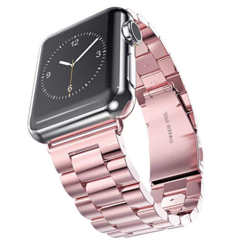 Caja + Correa Aplicar a Apple Watch Band 5 4 44mm / 40mm 5 4 3 Iwatch Band 42mm / 38mm Acero Inoxidable Correa Correa Pulsera (Band Color : Rose Pink, Band Width : 44mm)
