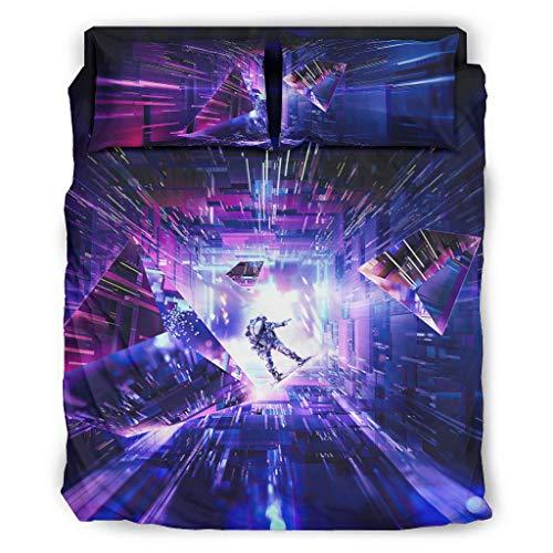 Hothotvery Juego de ropa de cama con 4 piezas, con estampado de astronauta y ciencia ficción, 4 piezas, juego de ropa de cama de Navidad, edredón y fundas de almohada, color blanco, 228 x 264 cm