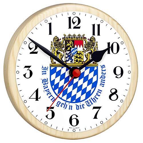 Bayernuhr mit Wappen – Rückwärtsläufer-Uhr – Geeignet für Hobbyraum, PARTYKELLER, als witziges Überraschungsgeschenk etc. – Made IN Germany – Kiefer-Gehäuse – Maße: Ø: 16,5 cm – C345434