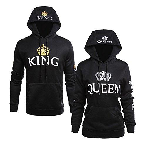 PZJ Sudadera Pareja Pullover King & Queen con Capucha y Bolsillo Canguro Sudadera Hoodie de Manga Larga para Primavera y Otoño
