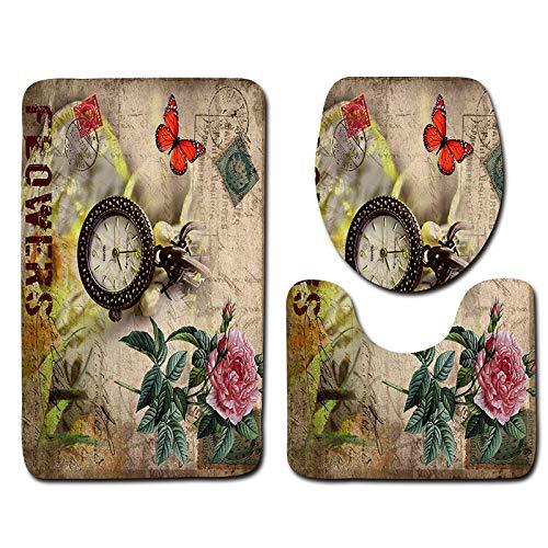 Alfombrillas De Baño Juego De 3 Piezas - Reloj Rosa, Secado rápido Antideslizantes Alfombra de Pedestal + Tapa de Inodoro + Alfombrilla de baño(50 x 80 cm)