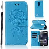 Zchen Funda LG K11, Funda Piel con Tapa Suave TPU y Cuero de PU Tipo Libro Billetera Resistente a los Golpes Carcasa para LG K11 (Atrapasueños Búho-Azul)