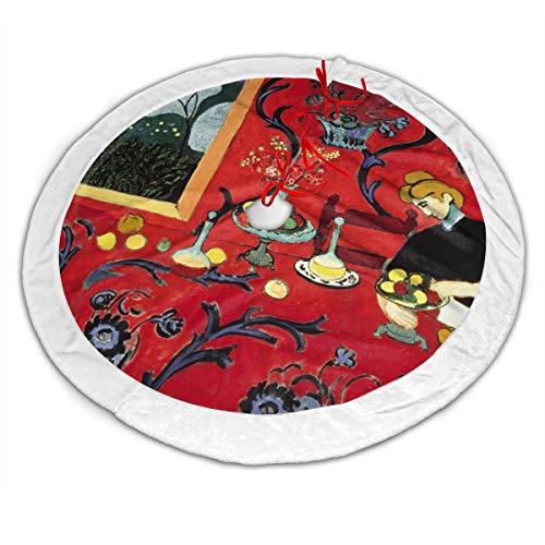 SAIKOUNOYA Merry Christmas Tree Skirt,Harmony in Red Tree Skirt for Festive Holiday Party Decoration