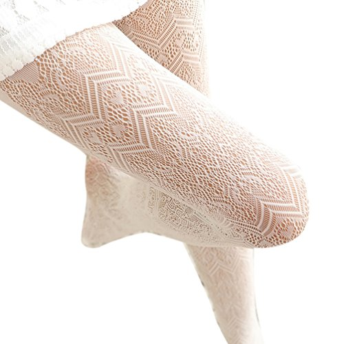 Eliffete Women High Waist Hollow Out Tights Cream Pantyhose Stockings for Girls