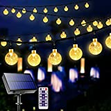 Solar String Lights Outdoor with Remote 36 Feet 60LED Crystal Globe Waterproof LED Outdoor Lights Solar Powered 8 Modes Patio Light for Outdoor Garden (Warm White)