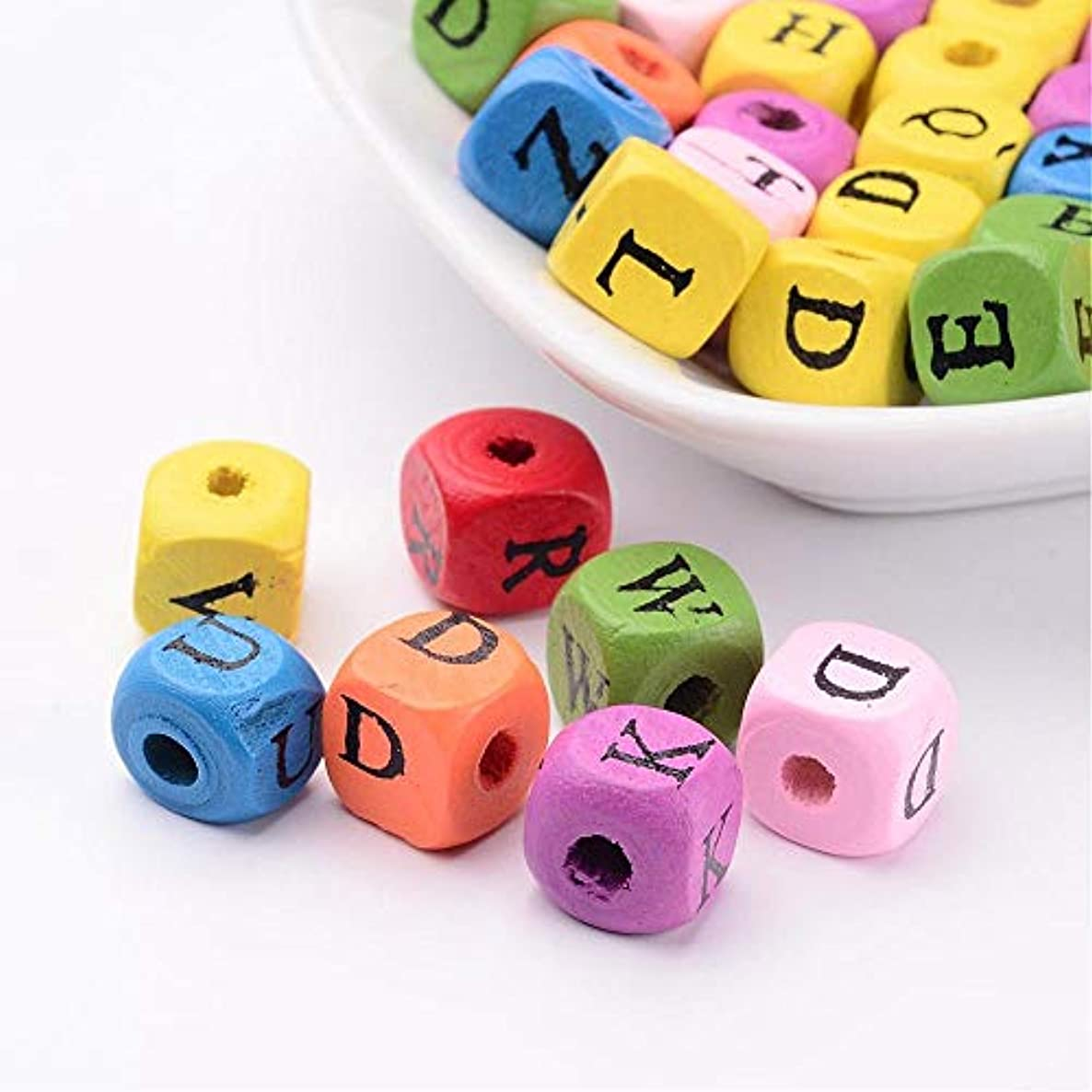 PEPPERLONELY Brand 50PC Mixed Alphabet Letter Cube Dyed Wood Beads 10x10mm