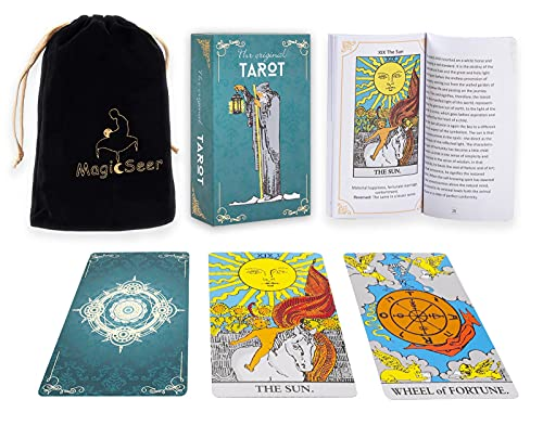MagicSeer Large Tarot Cards,78 Durable Original Tarot Card Decks for Beginners and Expert,Tarot Cards Set with Velvet Tarot Card Bag Pouch for Gifts,Fortune Telling Cards Game