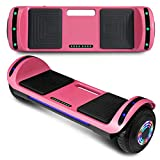 "cho New Hoverboard Electric Smart Self Balancing Scooter with Built-in Wireless Speaker 6.5"" LED Wheels and Side Lights Safety Certified (Solid Pink)"