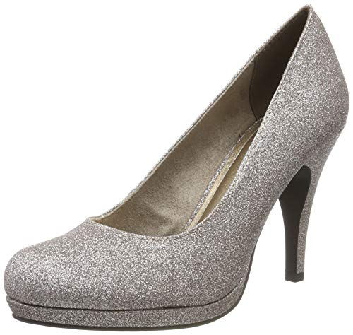 Tamaris Damen 1-1-22407-23 Plateaupumps, Silber (Space Glam 960), 38 EU