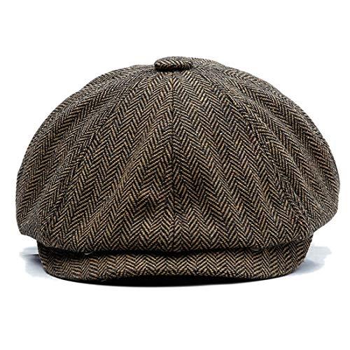 Charmylo Newsboy Cap Baker Boy Hat Gorras Planas - 8 Paneles Peaky Herringbone Tweed Gatsby Hat Ivy Irish Cap para Hombres y Mujeres, Café Negro, 59-61