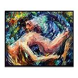 ZDFDC Abstract Sexy Lover Desnudo Pintura sobre Lienzo Carteles e Impresiones Cuadro de Pared para Dormitorio Sala de Estar Decoración-60x70cmx1 sin Marco