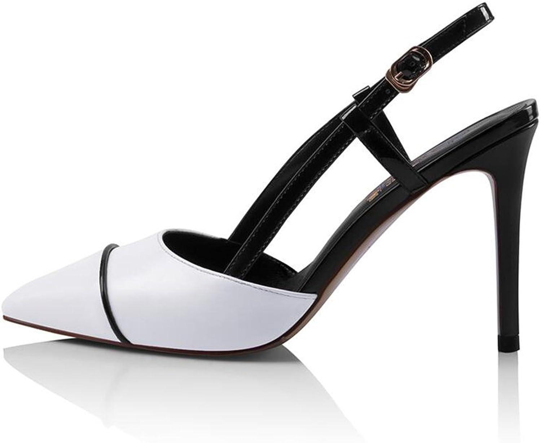 CJC High-Heeled Sandals Baotou High Heels Thin Heels White Fashion Women's shoes (color   White, Size   EU37 UK4.5-5)