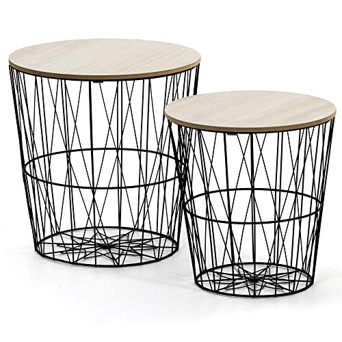 VS Venta-stock Juego 2 mesas de Centro café Guili con Tapa de Chapa de Madera Natural y Estructura de Metal en Negro
