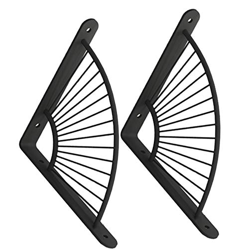 YCMY Set of 2 Shelf Bracket Metal Frame Wall Shelve Support Brackets L Shape Right Angle DIY Shelving Supporter Floating Black 150/200mm