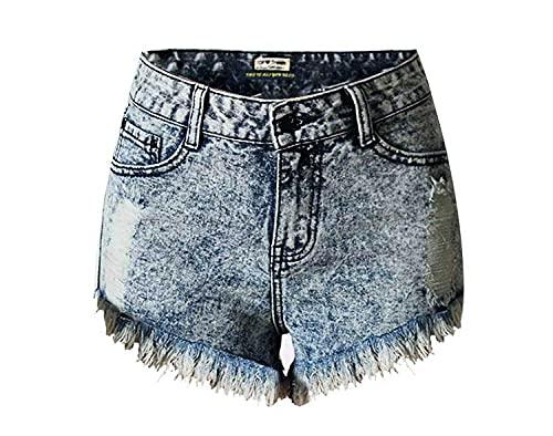 BUXIANGGAN Shorts Pantalones Cortos Mujer Vintage Women's Inelastic Denim Shorts High Waist Ripped with Tassel Holes-Argent_40