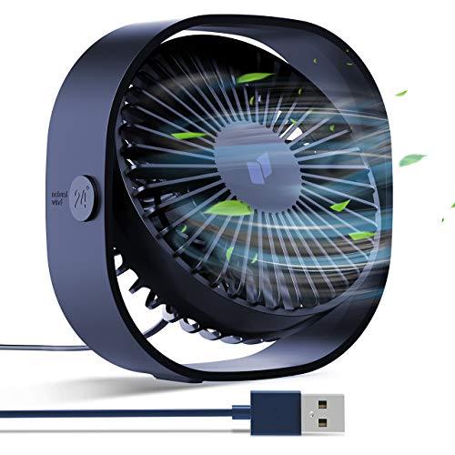 joylink Ventilador USB, Mini Ventilador Portátil PC Ventilador USB, 3 Velocidades Rotación de 360°, Diseño Silencioso Ventiladores Personales para Oficina, Hogar, Viajar, Acampar