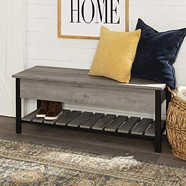 Walker Edison Furniture Company Modern Farmhouse Bench Hidden Entryway Shoe Storage Hallway Organizer, 48 Inch, Grey Wash