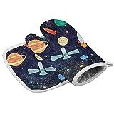 NI Ofenhandschuh- und Topflappen-Set, Universum Galaxy Space Stars Cartoon Sonne Erde Mond Rakete Hitzebeständige Ofenhandschuhe rutschfeste Topflappen für Küche, Backen, Grillen, Grillen
