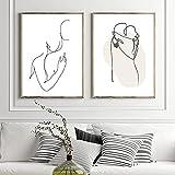 MKWDBBNM Pareja línea Dibujo boceto impresión Minimalista Abstracto Pared Arte Lienzo Pintura Negro Blanco Imagen Cartel nórdico decoración de Dormitorio | 50x70cmx2 sin Marco
