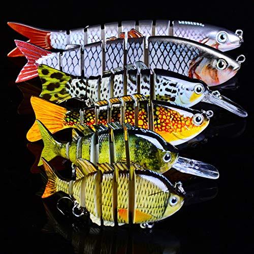 MKNZOME 6 señuelos de pesca multiarticulados para agua superior, cebos de natación artificiales, anzuelos de pesca para perca, lubina, lucio, trucha y muskie