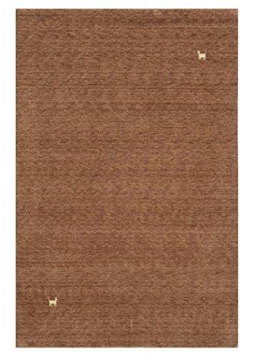 Morgenland Gabbeh Teppich ASTERIA Braun Einfarbig Tiere Schurwolle Handgewebt 140 x 70 cm