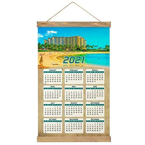 Usa America Lagoon Oahu Hawaii Wall Calendar 2021 12 months Canvas Wood 20.4' x 13.1' (GL-USA-6364)